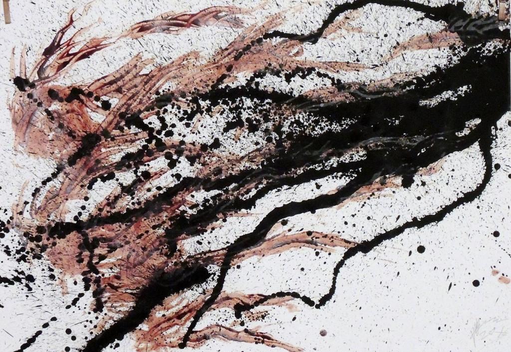 Peter Gilles: o.T., 2015, Blut, Kohle auf Bütten, 100x70 cm